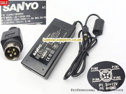 12V DC 4-Pin AC Adapter For Sanyo JS-12050-2C LCD TV Switching Power Supply Cord
