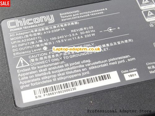 Image 4 for UK Genuine Chicony A12-230P1A AC adapter 230W 19.5v 11.8A For MSI Gaming Notebook -- CHICONY19.5V11.8A230W-5.5x2.5mm