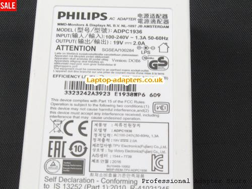 Image 3 for UK Genuine Philips ADPC1936 Ac Adapter For LCD LED Monitor 19v 2.0A White -- PHILIPS19V2A38W-5.5x2.5mm-W